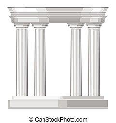 doric, realístico, antigüidade, grego, templo, com, colunas