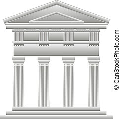 Doric temple on white background.