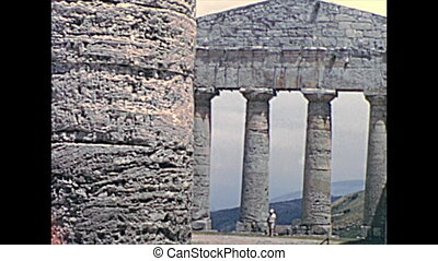Doric temple ruins of Segesta, archaeological site in...
