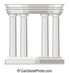 dorico, realistico, anticaglia, greco, tempio, con, colonne
