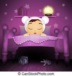 dorlotez fille, étoiles, chambre à coucher