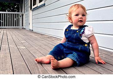 dorlotez fille, assied, balcon