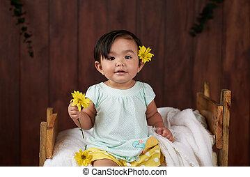 dorlotez fille, fleur, jaune