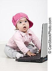 dorlotez fille, ordinateur portable, business