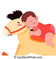 dorlotez garçon, cheval, jouet, balancer