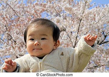 dorlotez garçon, fleurs, cerise