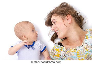 dorlotez garçon, pourparlers, elle, mère