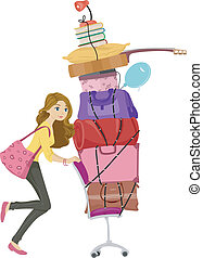 Dorm Move - Illustration of a Girl Moving a Tall Stack of...