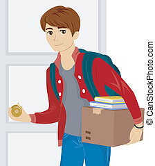 Dorm Room Move - Illustration of a Male Teen Moving into a...