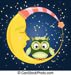 dormant, mignon, séance, ciel, lune, croissant, étoiles, nuit, dessin animé, hibou, rond