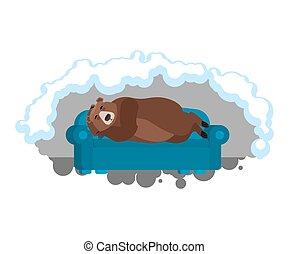 dormant., schläft, braunbär, couch, tier, vektor, abbildung, wild, asleep., den.