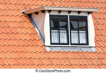 dormer, windows, ajustado, techo, holandés, típico