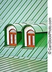 dormers, techo, verde, hierro, placas, cubierto