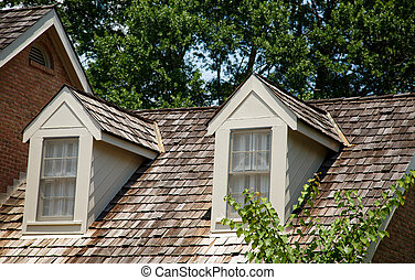 Dormes on Wood Shaker Roof - Two Wood Dormers on a wood...