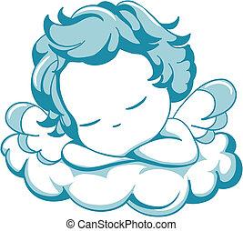 dormir, ange, litle