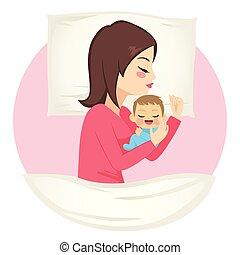 dormir, bébé, mère