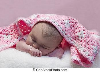 dormir, bébé, w/blanket