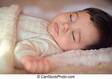 dormir, bebê, coberto, com, tricotado, cobertor
