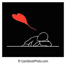dormir, bureau, cœurs, agréable, rouges, homme