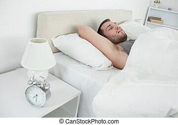 dormir, cansadas, homem
