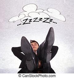 dormir, cansadas, homem negócio