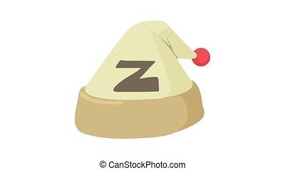 dormir, chapeau, animation, icône