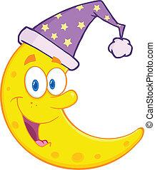 dormir, chapeau, mignon, lune