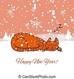 dormir, conception, noël carte, chat