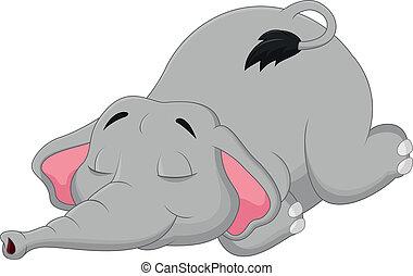dormir, dessin animé, éléphant