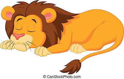 dormir, dessin animé, lion