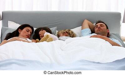 dormir, ensemble, famille, agréable