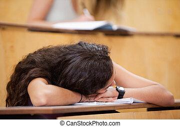 dormir, estudante, dela, escrivaninha