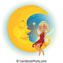 dormir, fée, lune, à côté de, robe rouge