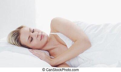dormir, femme, matin, mensonge, concept., girl., repos, ...