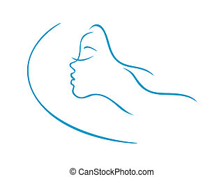 dormir, femme, tête