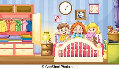 dormir, gosses, chambre à coucher, trois