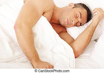 dormir, homem, jovem, cama, lar