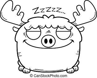 dormir la siesta, alce, caricatura