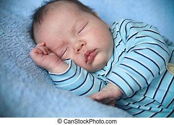 dormir, lit, paisible, bébé, mensonge, quoique