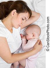 dormir, mãe, bebê, jovem, junto, dela