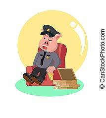 dormir, manger, après, police, cochon, sofa, pizza