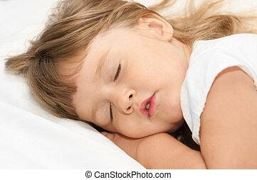 dormir, menina, cama
