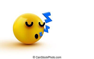 dormir, mignon, 3d, message., face., emoji, emoticon., bavarder, ou, illustration, jaune