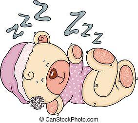dormir, mignon, teddy, ours bébé