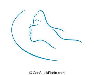 dormir, mulher, cabeça