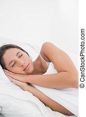 dormir, mulher, calmo, cama