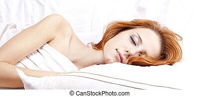 dormir, mulher, em, whitelying, em, a, cama