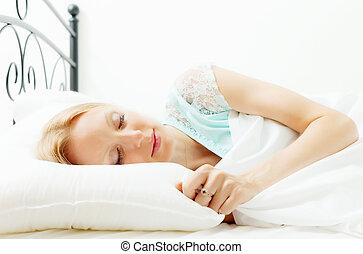 dormir, mulher, folha, branca