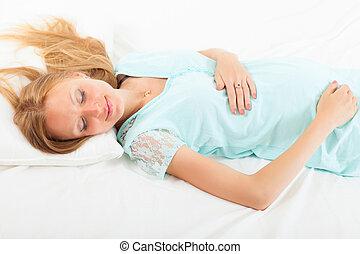 dormir, mulher, folha, grávida, branca