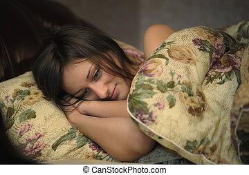 dormir, mulher, jovem, bonito